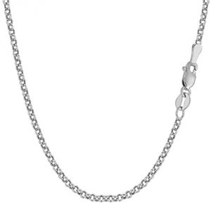 10k White Gold Round Rolo Link Chain Necklace, 2.3mm, 20""