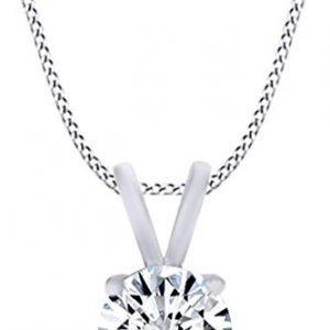 1/2 Carat Round Cut White Natural Diamond Solitaire Pendant Necklace In 14ct Solid White Gold (0.50 Cttw)