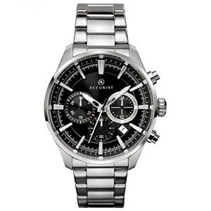 Accurist Gents Analogue Quartz Watch With Black Chronograph Dial And silver Stainless Steel Bracelet 7194