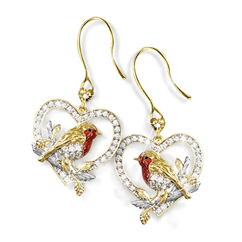 'Jewel Of Nature' Diamond Robin Exquisite Earrings - Two Radiant Diamonds and Crystals with an Elegant Robin Featuring 24-Carat Gold Exclusive To The Bradford Exchange
