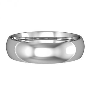 Jewelco London 9ct White Gold - 5mm Essential Court-Shaped Band Commitment/Wedding Commitment Ring, Size Z