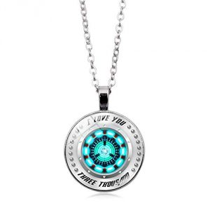 MC-DREAM I Love You Three Thousand 3000 Circle Pendant Necklace Blue, Tony Stark Arc Reactor Jewelry Charm Necklace Love Gift for Man Women
