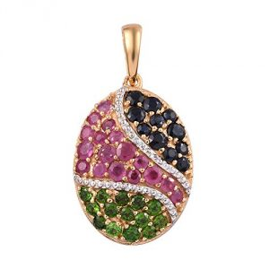 TJC 925 Sterling Silver 14ct Gold Plated African Ruby, Blue Sapphire, Diopside Cluster Pendant for Women & Girls, 2.5 ct, Perfect July Birthstone Gift