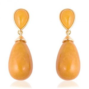 TJC Yellow Jade 925 Sterling Silver Yellow Gold Plated Push Back Teardrop Earrings for Women & Girls, 43.5 ct
