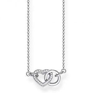 Thomas Sabo Women's 925 Sterling Silver Glam and Soul Together Heart Small Necklace of Length 45 cm KE1643-051-14-L45v