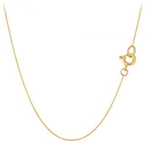 10k Yellow Solid Gold Mirror Box Chain Necklace, 0.45mm, 16""