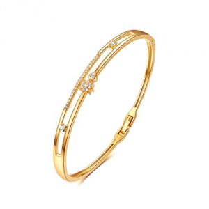18K Gold Plated Bracelet for Women, Bangles with Star Design, Hand-inlaid with CZ Cubic Zirconia