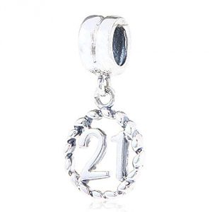 21th Birthday Charm Sterling Silver Lucky Number Bead Anniversary Charm for Pandora Charm Bracelet (21)