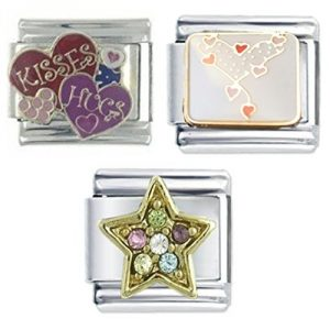3 Italian Charm Bundle - Heart of Hearts, Hugs and Kisses & Multi Gem Star - Fits Nomination Classic