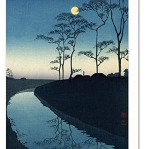 """""""Canal by Moonlight"""" Japanese Landscape Greeting Card"""