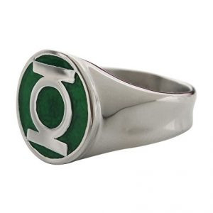 DC Comics Men's Stainless Steel Green Lantern Ring with a Classic Green Enamel Inlay (14)