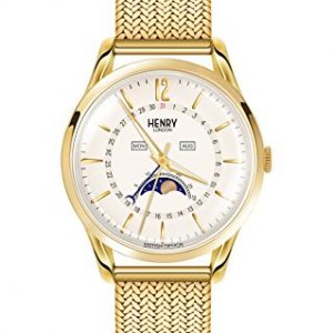 Henry London Unisex-Adult Moon Phase Quartz Watch with Stainless Steel Strap HL39-LM-0160