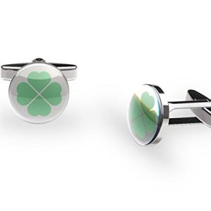 """Lucky Leaves"" Cufflinks (Irish 4-Leaf clover cufflinks with gift box)"