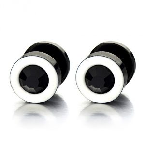 Mens Womens White Black Stud Earrings Steel Illusion Tunnel Plug Screw Back with 4MM Black Cubic Zirconia