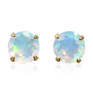 TJC Women's AAA Ethiopian Opal Solitaire Stud Earrings in 9ct Yellow Gold, Hypoallergenic & Nickle Free Solitaire Studs, Birthday Jewellery Gift