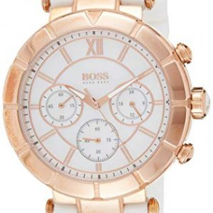 1502315 Hugo Boss Women's Watch Chronograph Quartz Nacre Dial White Rubber Strap