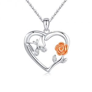 3D Rose Flower Heart Pendant Necklace 925 Sterling Silver Small Butterfly Charm Pendant Rose Romantic Necklace Valentine's Day Birthday Gift for Women Wife Girlfriend