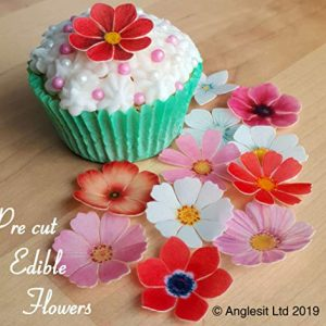 . PRE-CUT BEAUTIFUL FLOWERS VALENTINE'S LOVE MIX III. EDIBLE RICE/WAFER PAPER PRE CUT CUPCAKE CAKE DESSERT TOPPERS BIRTHDAY PARTY WEDDING BABY SHOWER SPRING SUMMER DECORATIONS (Flowers)