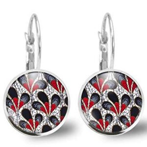 """earrings cabochon flower""""Modern flowers"""" - woman christmas present - woman birthday - valentine's day - antique silver (ref.52a)"""