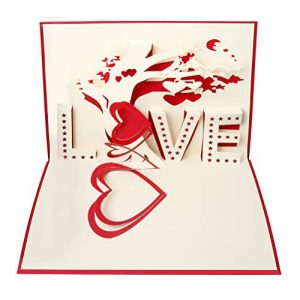 nuoshen 3D Card, Pop Up Card Gift Card for Wife 3D Greeting Card with Envelope for Wedding Anniversary Valentine's Day (Love)
