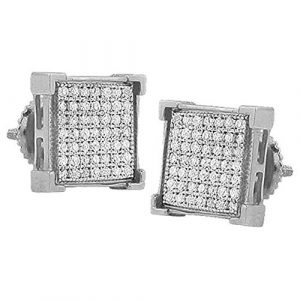 0.15 Carat (ctw) 925 Sterling Silver Real Diamond V-Prong Mens Hip Hop Iced Stud Earrings