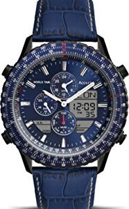 Accurist Men's Quartz Watch with Blue Dial Chronograph Display and Blue Leather Strap Ms1036Nn