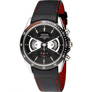 Accurist Men's Quartz Watch with Black Dial Chronograph Display and Black Leather Strap Ms645