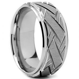 Ultimate Metals Co. Tungsten Carbide Men's Weave Grooved Pattern Wedding Ring Band, 9mm Size Q