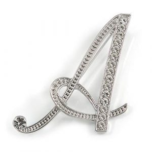 'A' Rhodium Plated Clear Crystal Letter A Alphabet Initial Brooch Personalised Jewellery Gift - 45mm Tall