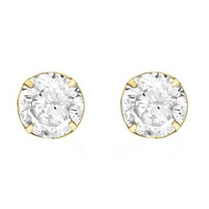 Carissima Gold Women's 9 ct Yellow Gold 6 mm Round Cubic Zirconia Stud Earrings