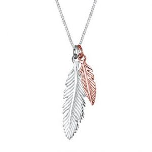 Elli Women Genuine Jewellery Necklaces Pendant Neckwear Feather 925 Sterling Silver Gold Plated Length 45 cm