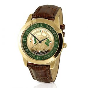 'Forever Ireland' Commemorative Men's Watch - A unique Irish independence-inspired precision Quartz movement timepiece, with gold-plating and leather strap. Exclusive to The Bradford Exchange!