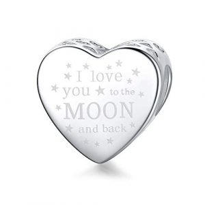 """""""I Love You to The Moon & Back"""" Heart Charm Authentic 925 Sterling Silver Beads Fits Pandora European Charm Bracelets Necklaces"""