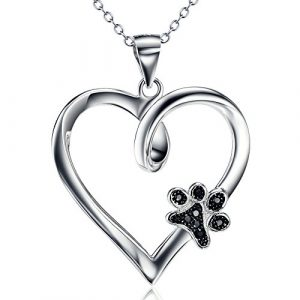 "Paw Print Necklace 925 Sterling Silver Dog Paw Heart Pendant Necklace Jewellery for Women Girls 18"" Rolo Chain"