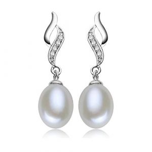 Pearl Earrings For Women 925 Sterling Silver and Cubic Zirconia - AAA Natural Freshwater 9mm Pearl Drop Dangle Earrings Fashion Jewellery Gifts