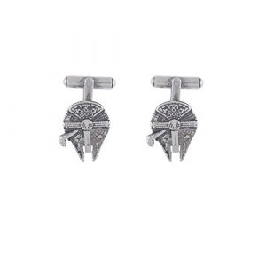 "'Star Wars Cufflinks ""Millennium Falcon In Zamac 15 microns. Silver Plated Size: 20 mm."